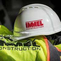 construction crew hard hat on vest